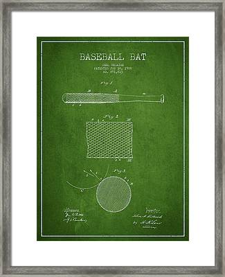 Baseball Bat Patent Drawing From 1904 Framed Print by Aged Pixel
