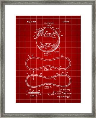 Baseball Patent 1927 - Red Framed Print by Stephen Younts