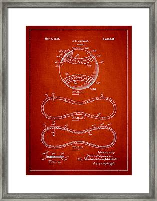 Baseball Patent Drawing From 1927 Framed Print