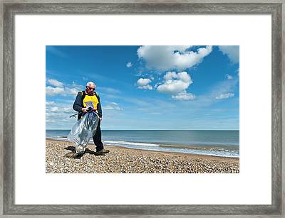 Beach Clean-up Framed Print