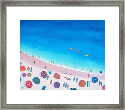 Beach Umbrellas Framed Print by Jan Matson