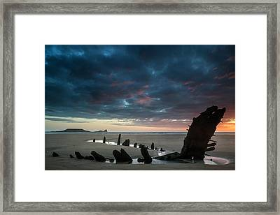 Beautiful Dramatic Sunset Landscape Over Shipwreck On Rhosilli B Framed Print by Matthew Gibson