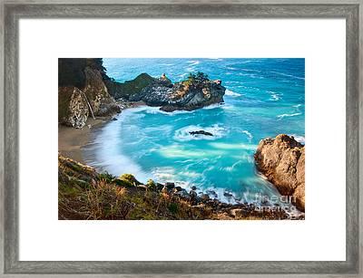 Beautiful Mcway Falls Along The Big Sur Coast. Framed Print by Jamie Pham