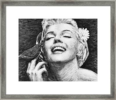 Beautifully Happy In Black And White Framed Print by Atiketta Sangasaeng