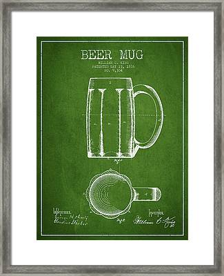 Beer Mug Patent From 1876 - Green Framed Print by Aged Pixel