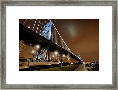 Ben Franklin Bridge At Night Framed Print