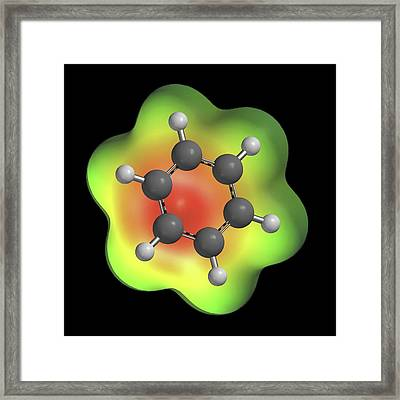 Benzene Aromatic Hydrocarbon Molecule Framed Print