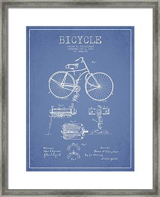 Bicycle Patent Drawing From 1891 Framed Print by Aged Pixel