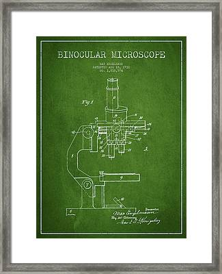 Binocular Microscope Patent Drawing From 1931 - Green Framed Print by Aged Pixel