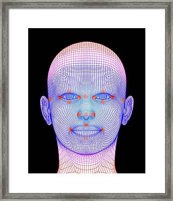 Biometric Facial Map Framed Print by Alfred Pasieka