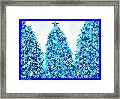 3 Blue Christmas Trees Alcohol Inks  Framed Print