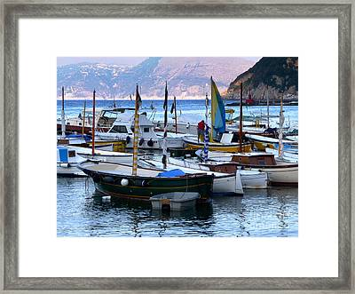 Framed Print featuring the photograph Boats In The Harbor by Mike Ste Marie