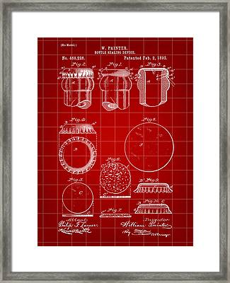 Bottle Cap Patent 1892 - Red Framed Print by Stephen Younts