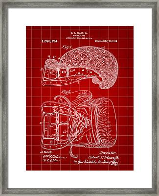 Boxing Glove Patent 1914 - Red Framed Print by Stephen Younts