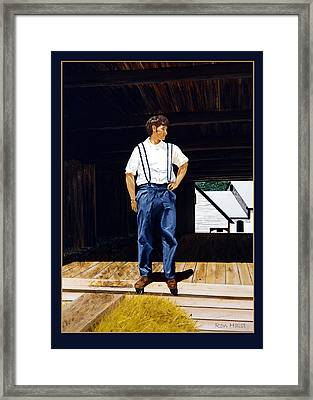 Boy In The Barn Framed Print