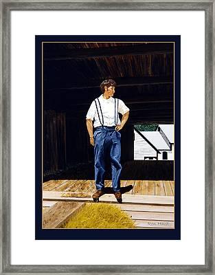 Boy In The Barn Framed Print by Ron Haist