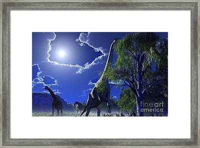 Brachiosaurus Dinosaurs, Artwork Framed Print