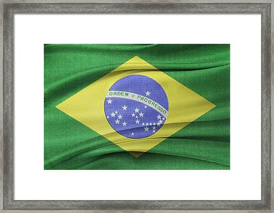 Brazilian Flag Framed Print by Les Cunliffe