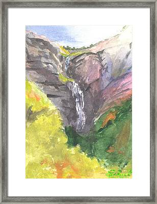 Framed Print featuring the painting Bridal Veil Falls by Sherril Porter