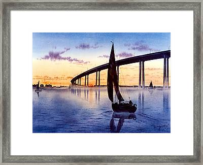 Bridge At Sunset Framed Print by John YATO