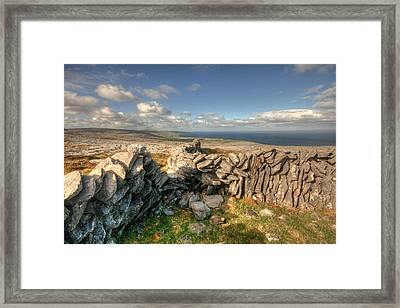 Burren Stone Walls Framed Print by John Quinn