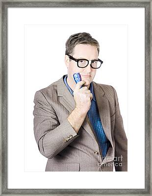 Businessman Holding Torch Framed Print