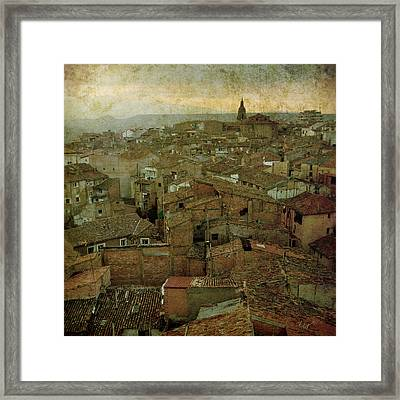 Calahorra Roofs From The Bell Tower Of Saint Andrew Church Framed Print by RicardMN Photography