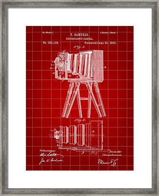 Camera Patent 1885 - Red Framed Print by Stephen Younts
