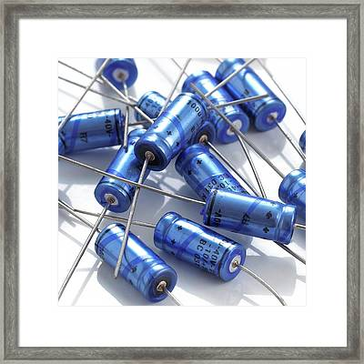Capacitors Framed Print by Science Photo Library