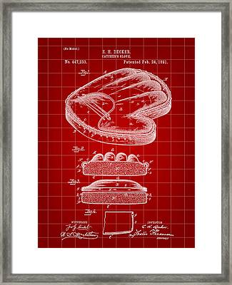 Catcher's Glove Patent 1891 - Red Framed Print