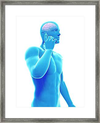 Cell Phone And Human Brain Framed Print by Sebastian Kaulitzki