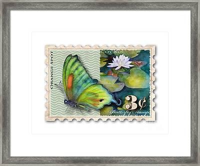 3 Cent Butterfly Stamp Framed Print by Amy Kirkpatrick