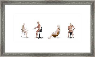 Chair Ergonomics, Correct Postures Framed Print