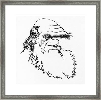 Charles Darwin, Caricature Framed Print by Gary Brown
