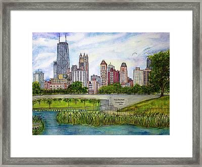 Chicago Skyline Framed Print by Janet Immordino