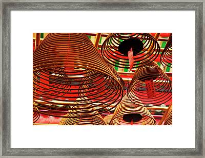China, Hong Kong, Spiral Incense Sticks Framed Print by Terry Eggers