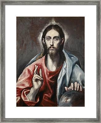 Christ Blessing Framed Print by El Greco