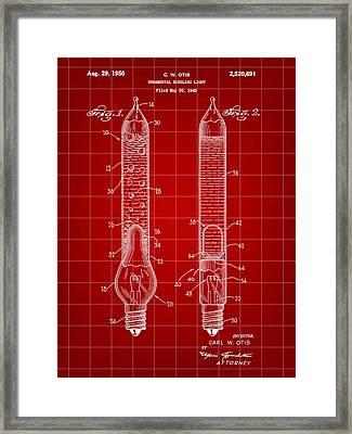 Christmas Bubbling Light Bulb Patent 1945 - Red Framed Print