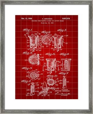 Christmas Bulb Socket Patent 1936 - Red Framed Print