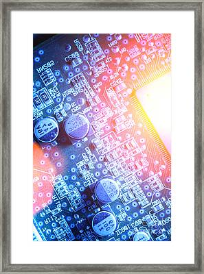 Circuit Board Abstract Framed Print by Konstantin Sutyagin