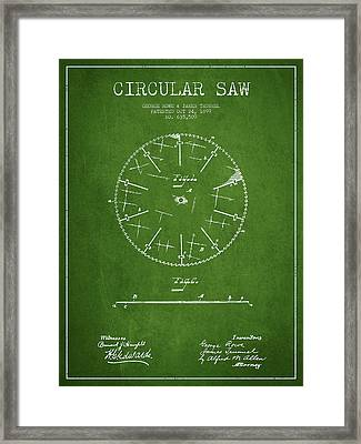 Circular Saw Patent Drawing From 1899 Framed Print