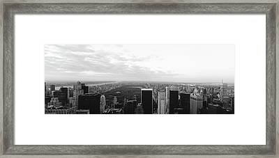 Cityscape At Sunset, Central Park, East Framed Print by Panoramic Images