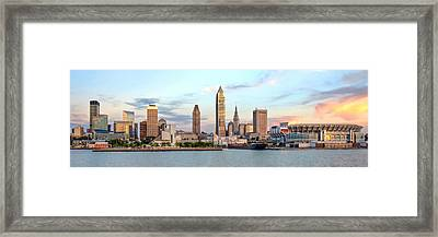 Framed Print featuring the photograph Cleveland Skyline by Brent Durken