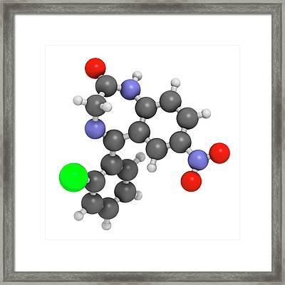 Clonazepam Benzodiazepine Drug Molecule Framed Print by Molekuul