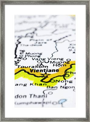 close up of vientiane on map-Laos Framed Print by Tuimages