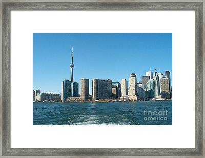 Cn Tower Toronto View From Centre Island Downtown Panorama Improvised With Graphic Artist Tools Pain Framed Print by Navin Joshi