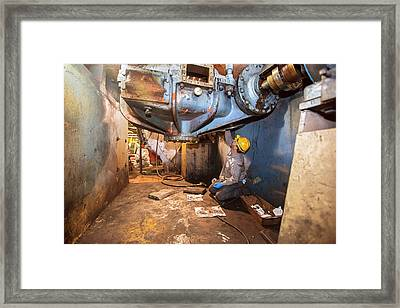 Coal-fired Power Station Worker Framed Print by Jim West