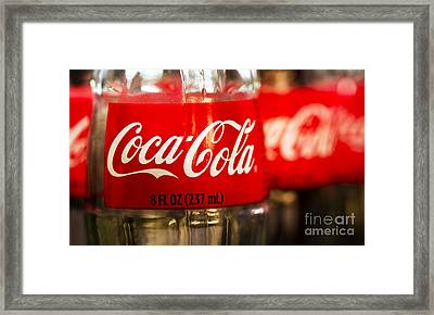 Red Neon Coca Cola Sign with Blue Bottle Framed Print Picture Poster Art