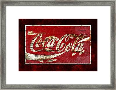 Coca Cola Sign Cracked Paint Framed Print by John Stephens