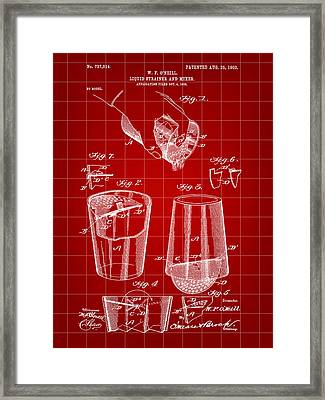 Cocktail Mixer And Strainer Patent 1902 - Red Framed Print by Stephen Younts